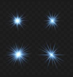 set blue beautiful stars vector image