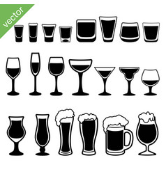set different alcoholic drinks vector image
