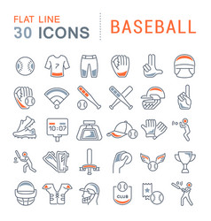 set line icons baseball vector image