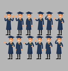 set of a graduation cartoon character vector image