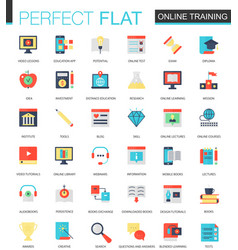 Set of flat online education icons vector