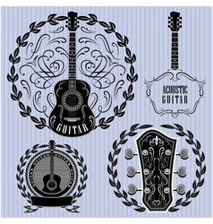 Set of labels with acoustic guitars vector