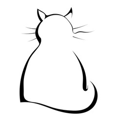 Silhouette of a black cat on a white background vector image
