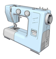 Simple a light blue sewing machine white vector