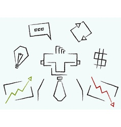 Sketch line art business icons vector image