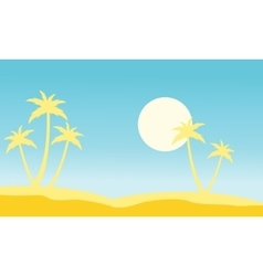 Slhouette of palm and moon stock vector