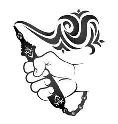 Smoking hookah silhouette vector