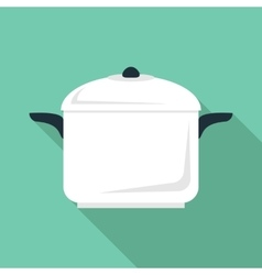 Soup pan icon flat style vector