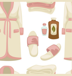 spa seamless pattern massage oil bathrobe and vector image