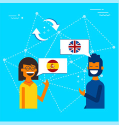 Spanish to english online chat translation concept vector