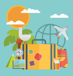 Travel vacation flat design set concept travel vector