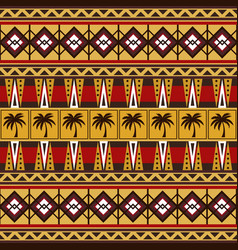 Tribal african pattern with palm trees vector