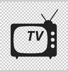 tv icon in flat style isolated on isolated vector image