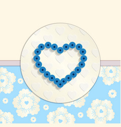Valentine Paper Blue Heart Greetings Card vector image