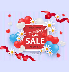 Valentines day sale and special offer with 50 vector