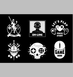 Video game emblem set gamer retro style vector