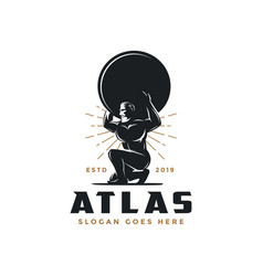 Vintage hipster atlas god logo icon vector