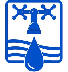 water drop and spigot blue icon vector image