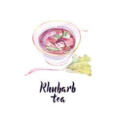 Watercolor cup rhubarb tea vector