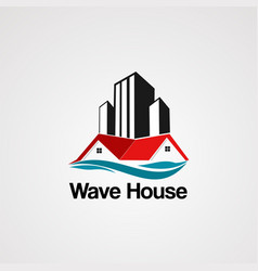wave house logo with skyline building element vector image