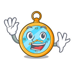 Waving classic watch isolated on a mascot vector