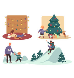 winter holidays season activities parents with vector image