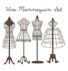 Wire Mannequin Set flat vector