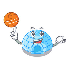 With basketball character cartoon ice house in vector