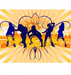 dancing girls silhouette vector image