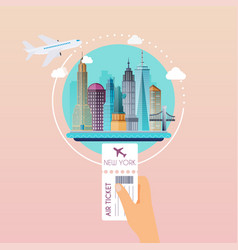 hand holding boarding pass at airport to new york vector image vector image