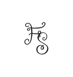 Handwritten monogram fs icon vector