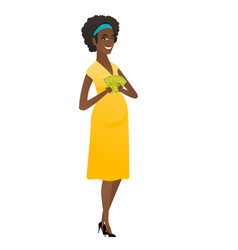 happy african pregnant woman holding money vector image vector image