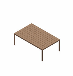 Isometric wooden table isolated on white vector