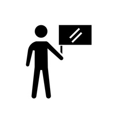 man with flag icon black vector image