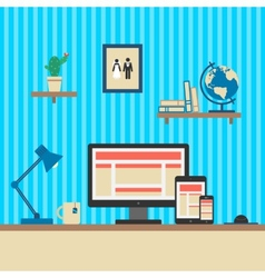 Office Workplace Responsive Web Design Concept vector image vector image