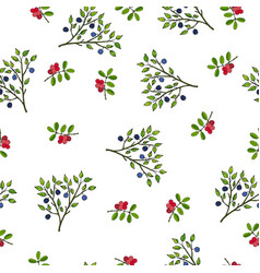 seamless pattern with hand drawn wild berries vector image