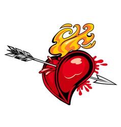 arrowed red heart vector image
