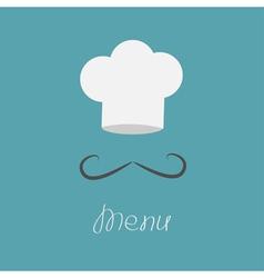 Big chefs hat and mustache Menu card Flat design vector image