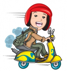 cartoon scooter vector image vector image
