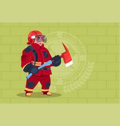 fireman holding hammer wearing uniform and helmet vector image vector image