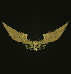 golden vampire skull vector image