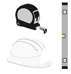 Grey level construction building helmet and tape vector image vector image