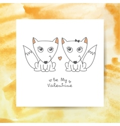 hand drawn foxes vector image vector image