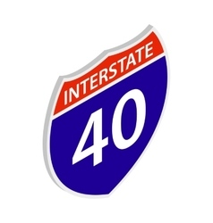 Interstate 40 sign icon isometric 3d style vector image vector image