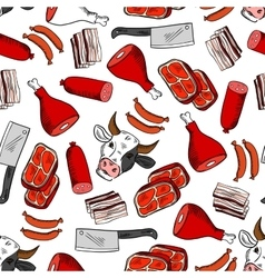 Meat cuts seamless pattern for butcher shop design vector image