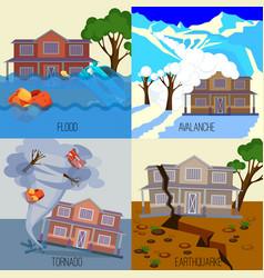 set of natural disasters banners tornado vector image