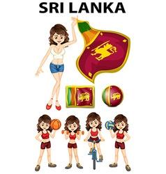Sri Lanka flag and woman athlete vector image vector image