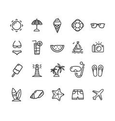 summer icon black thin line set vector image vector image