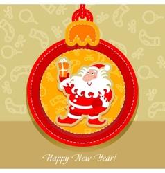 christmas ball postcard santa claus vector image