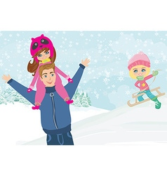 fun with dad in the snow vector image vector image